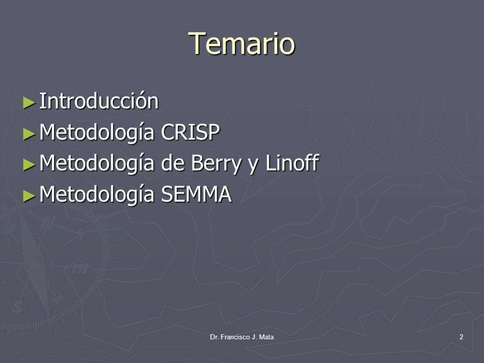 Temario Introducción Introducción Metodología CRISP Metodología CRISP Metodología de Berry y Linoff Metodología de Berry y Linoff Metodología SEMMA Me