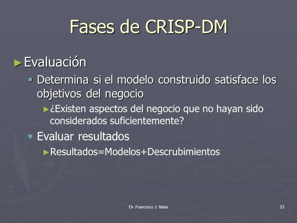 Dr. Francisco J. Mata23 Fases de CRISP-DM Evaluación Evaluación Determina si el modelo construido satisface los objetivos del negocio Determina si el