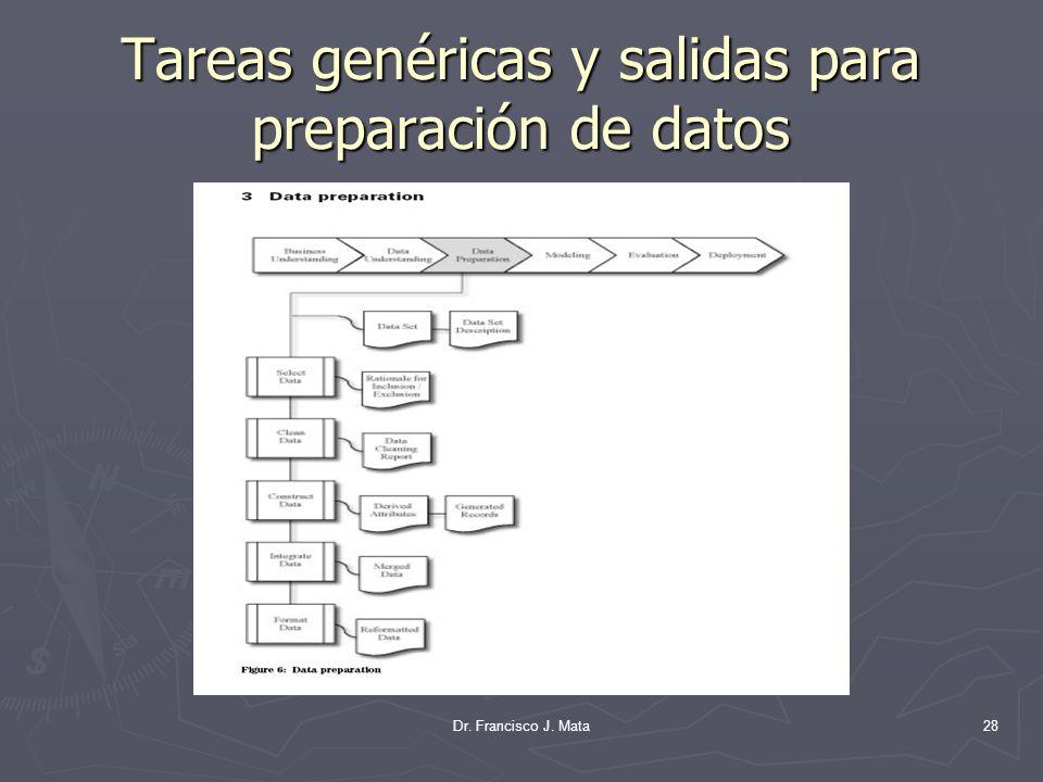 Dr. Francisco J. Mata28 Tareas genéricas y salidas para preparación de datos