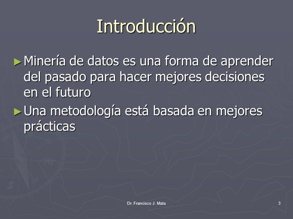 Introducción Minería de datos es una forma de aprender del pasado para hacer mejores decisiones en el futuro Minería de datos es una forma de aprender
