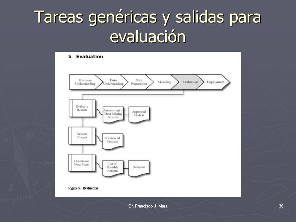 Dr. Francisco J. Mata30 Tareas genéricas y salidas para evaluación