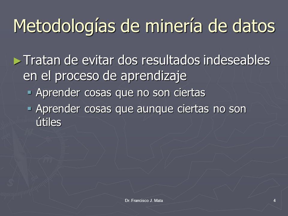 Metodologías de minería de datos Tratan de evitar dos resultados indeseables en el proceso de aprendizaje Tratan de evitar dos resultados indeseables