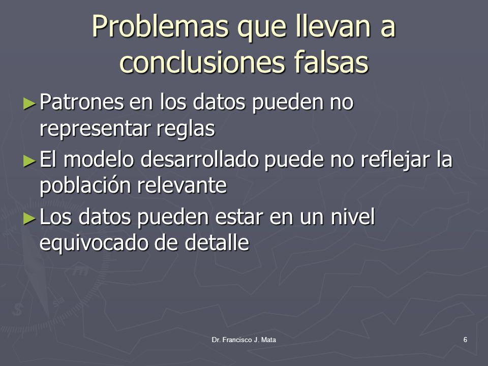 Problemas que llevan a conclusiones falsas Patrones en los datos pueden no representar reglas Patrones en los datos pueden no representar reglas El mo