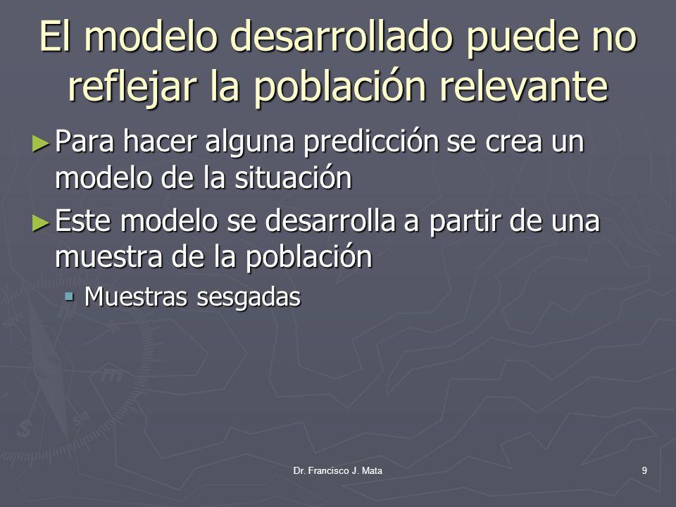 El modelo desarrollado puede no reflejar la población relevante Para hacer alguna predicción se crea un modelo de la situación Para hacer alguna predi