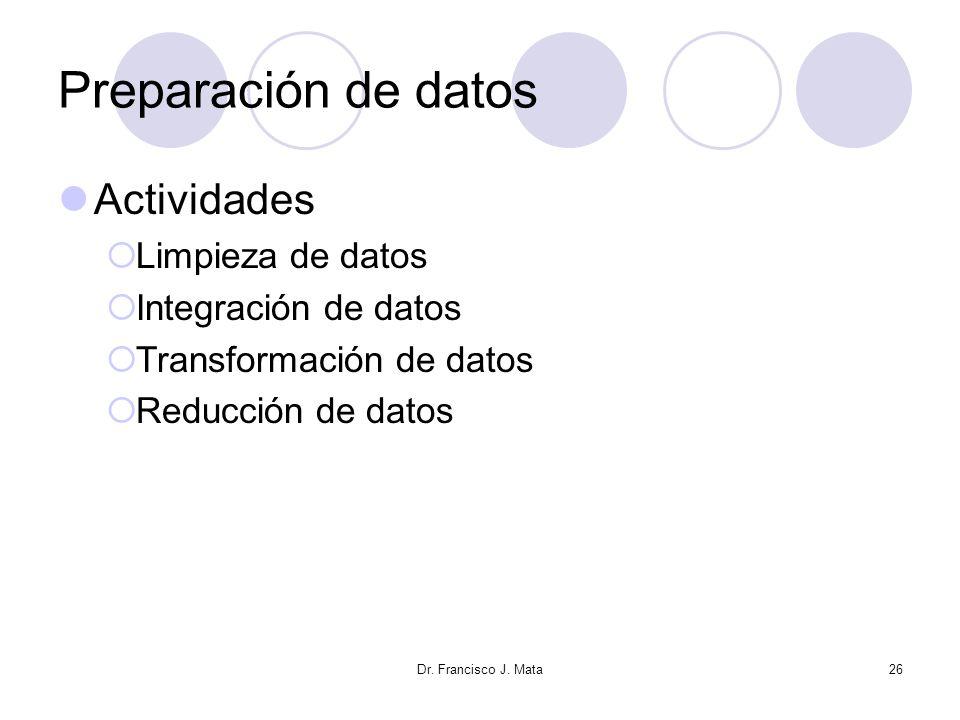 Dr. Francisco J. Mata26 Preparación de datos Actividades Limpieza de datos Integración de datos Transformación de datos Reducción de datos