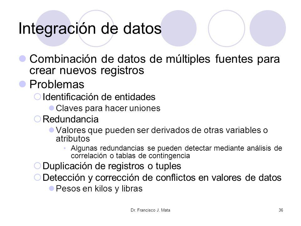 Dr. Francisco J. Mata36 Integración de datos Combinación de datos de múltiples fuentes para crear nuevos registros Problemas Identificación de entidad