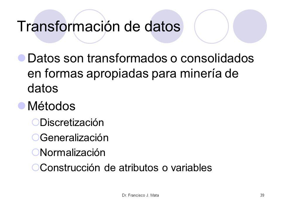 Dr. Francisco J. Mata39 Transformación de datos Datos son transformados o consolidados en formas apropiadas para minería de datos Métodos Discretizaci