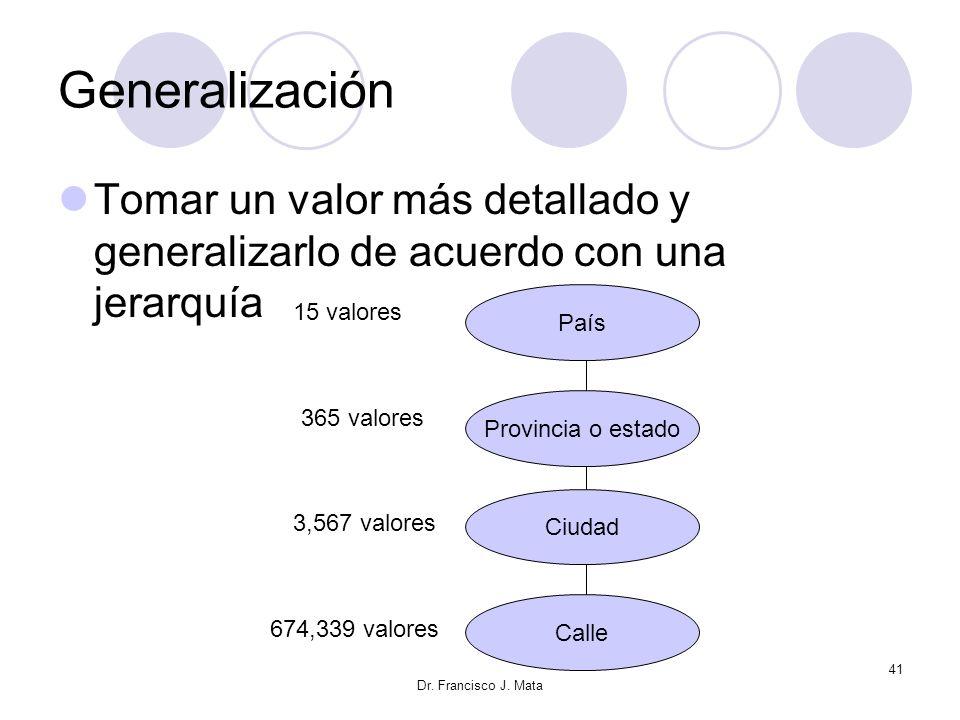 Dr. Francisco J. Mata 41 Generalización Tomar un valor más detallado y generalizarlo de acuerdo con una jerarquía País Provincia o estado Ciudad Calle