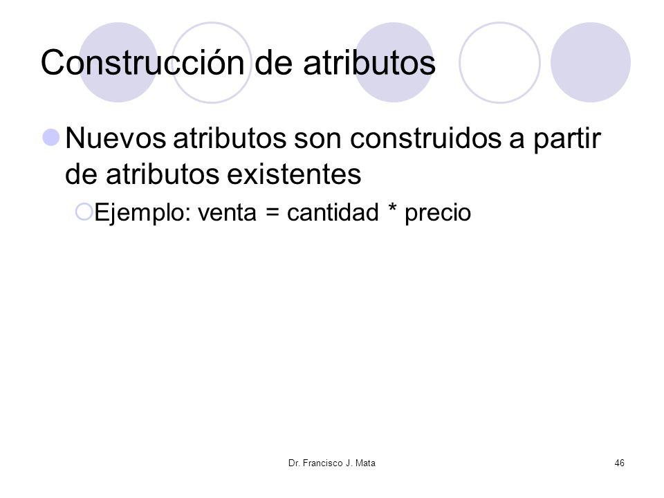 Dr. Francisco J. Mata46 Construcción de atributos Nuevos atributos son construidos a partir de atributos existentes Ejemplo: venta = cantidad * precio