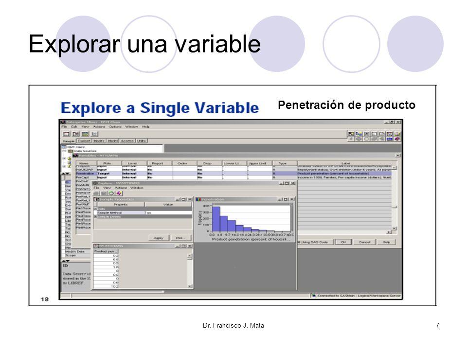 Dr. Francisco J. Mata28 Valores perdidos Valores para una variable no fueron registrados