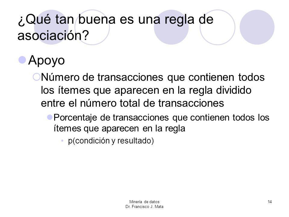 Minería de datos Dr. Francisco J. Mata 14 ¿Qué tan buena es una regla de asociación? Apoyo Número de transacciones que contienen todos los ítemes que