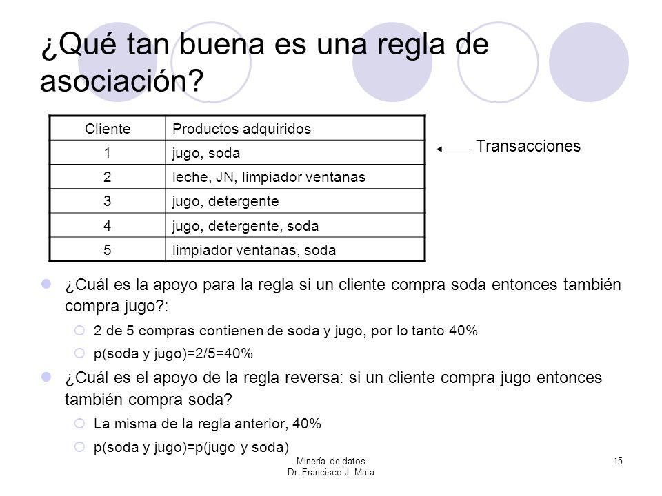 Minería de datos Dr. Francisco J. Mata 15 ¿Qué tan buena es una regla de asociación? ¿Cuál es la apoyo para la regla si un cliente compra soda entonce