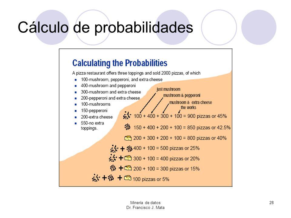 Minería de datos Dr. Francisco J. Mata 28 Cálculo de probabilidades