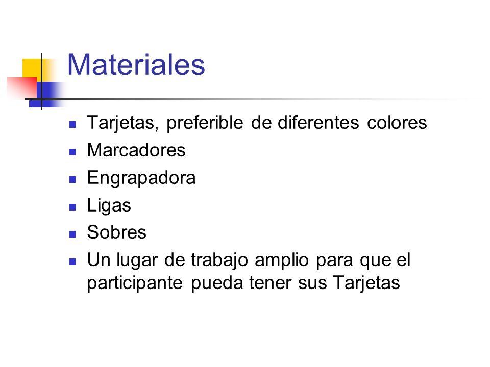 Materiales Tarjetas, preferible de diferentes colores Marcadores Engrapadora Ligas Sobres Un lugar de trabajo amplio para que el participante pueda te