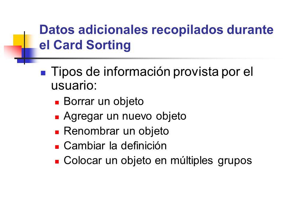 Datos adicionales recopilados durante el Card Sorting Tipos de información provista por el usuario: Borrar un objeto Agregar un nuevo objeto Renombrar