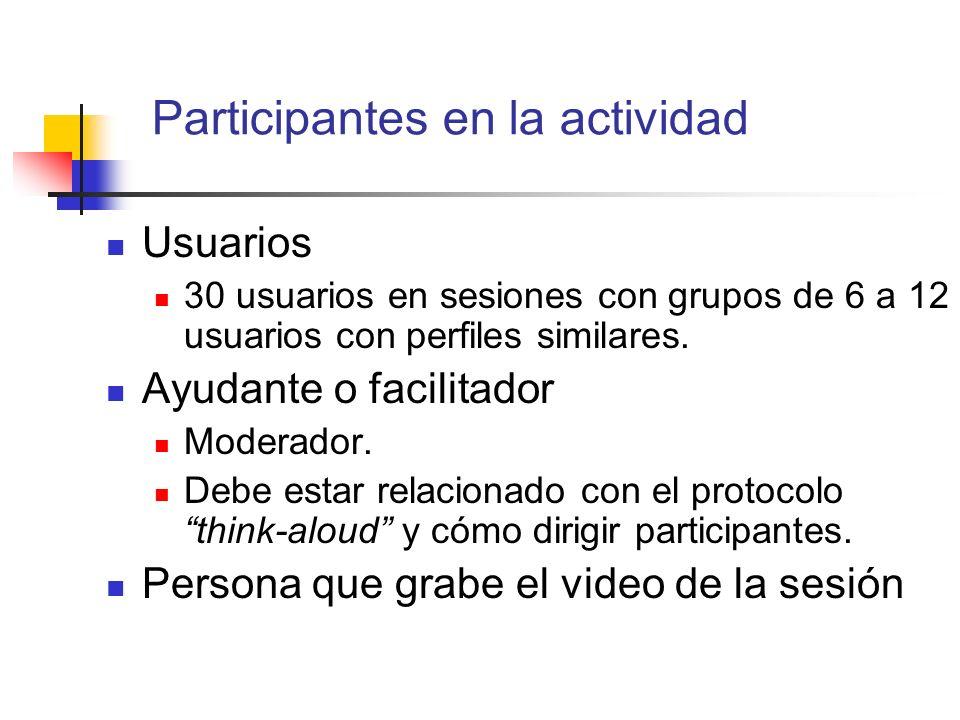 Participantes en la actividad Usuarios 30 usuarios en sesiones con grupos de 6 a 12 usuarios con perfiles similares. Ayudante o facilitador Moderador.