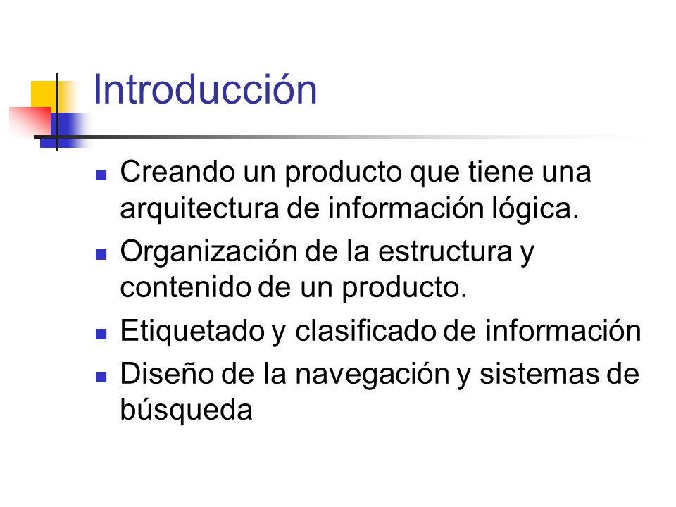 Introducción Creando un producto que tiene una arquitectura de información lógica. Organización de la estructura y contenido de un producto. Etiquetad