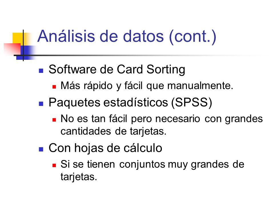 Análisis de datos (cont.) Software de Card Sorting Más rápido y fácil que manualmente. Paquetes estadísticos (SPSS) No es tan fácil pero necesario con