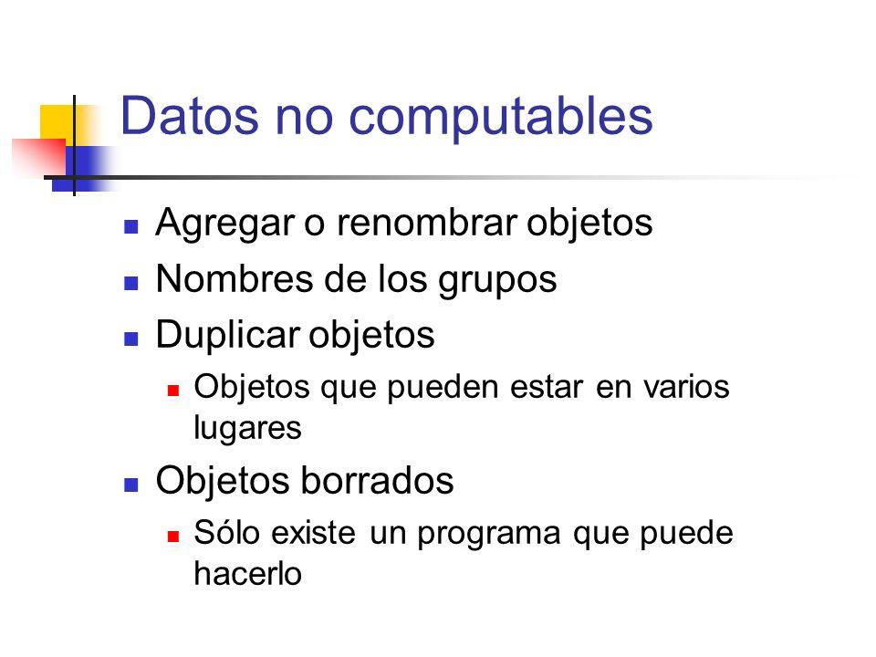 Datos no computables Agregar o renombrar objetos Nombres de los grupos Duplicar objetos Objetos que pueden estar en varios lugares Objetos borrados Só