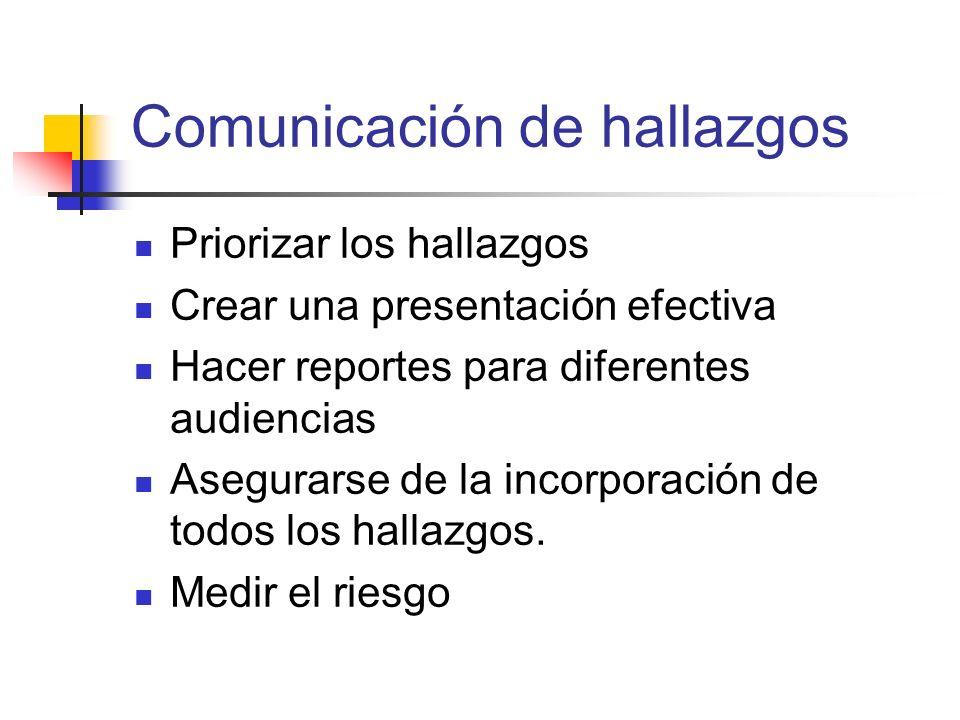 Comunicación de hallazgos Priorizar los hallazgos Crear una presentación efectiva Hacer reportes para diferentes audiencias Asegurarse de la incorpora