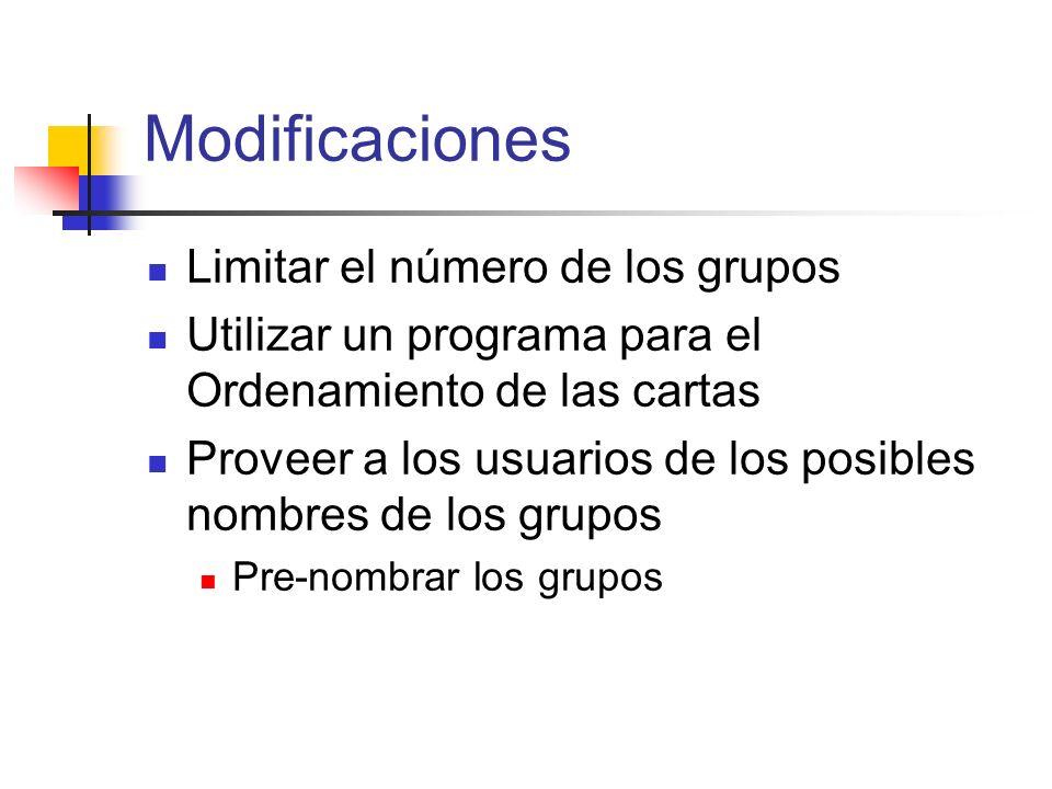 Modificaciones Limitar el número de los grupos Utilizar un programa para el Ordenamiento de las cartas Proveer a los usuarios de los posibles nombres