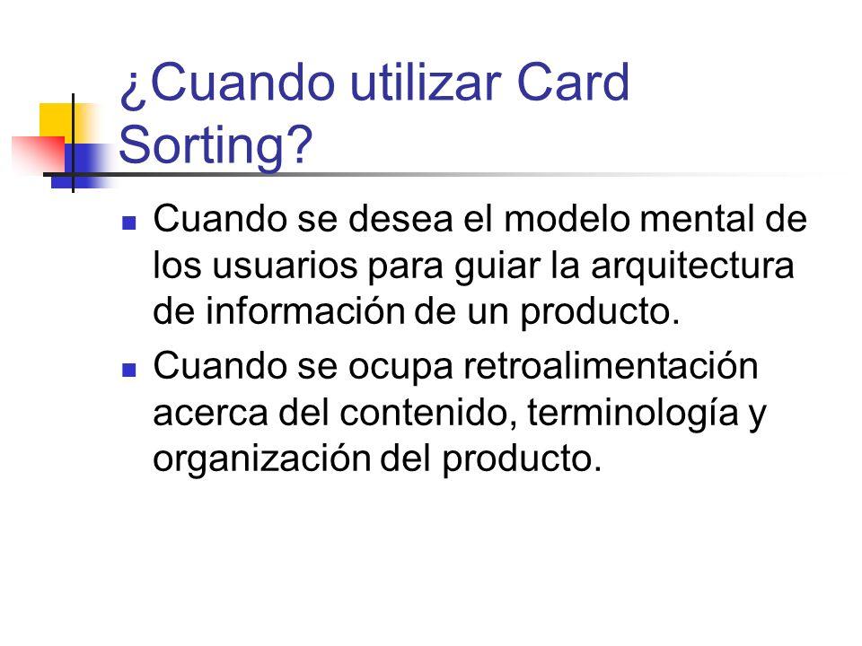 Productos del Card Sorting Organización del contenido o tareas en el producto Terminología empleada por el usuario Etiquetas aplicadas por el usuario a diferentes categorías de información o tareas Objetos innecesarios o ausentes