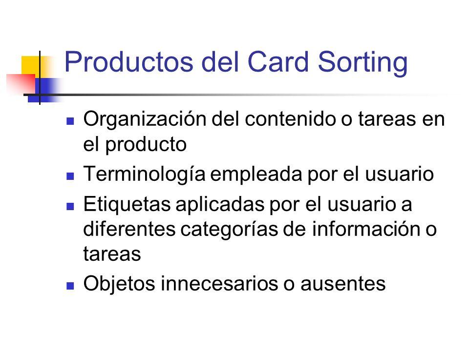 Productos del Card Sorting Organización del contenido o tareas en el producto Terminología empleada por el usuario Etiquetas aplicadas por el usuario
