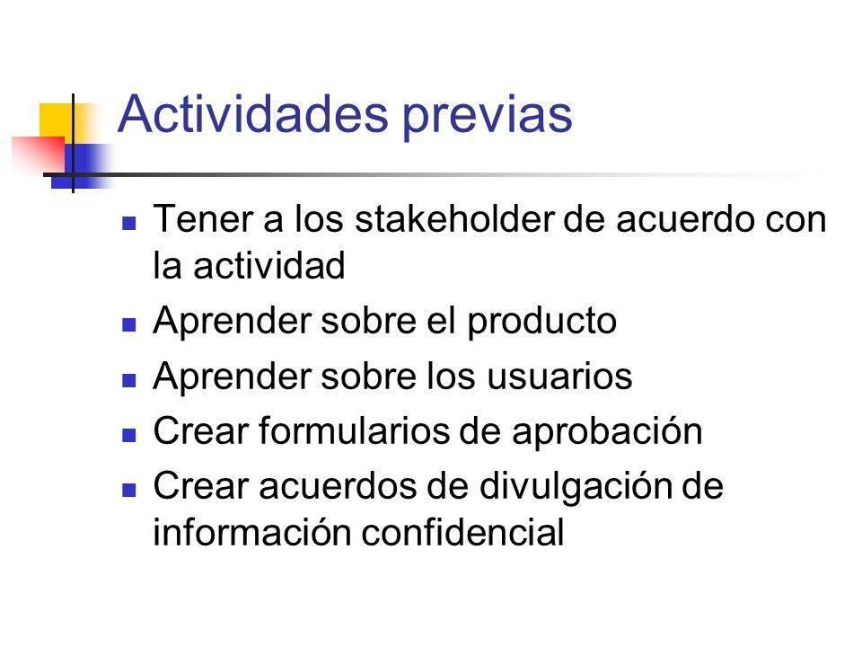 Actividades previas Tener a los stakeholder de acuerdo con la actividad Aprender sobre el producto Aprender sobre los usuarios Crear formularios de ap