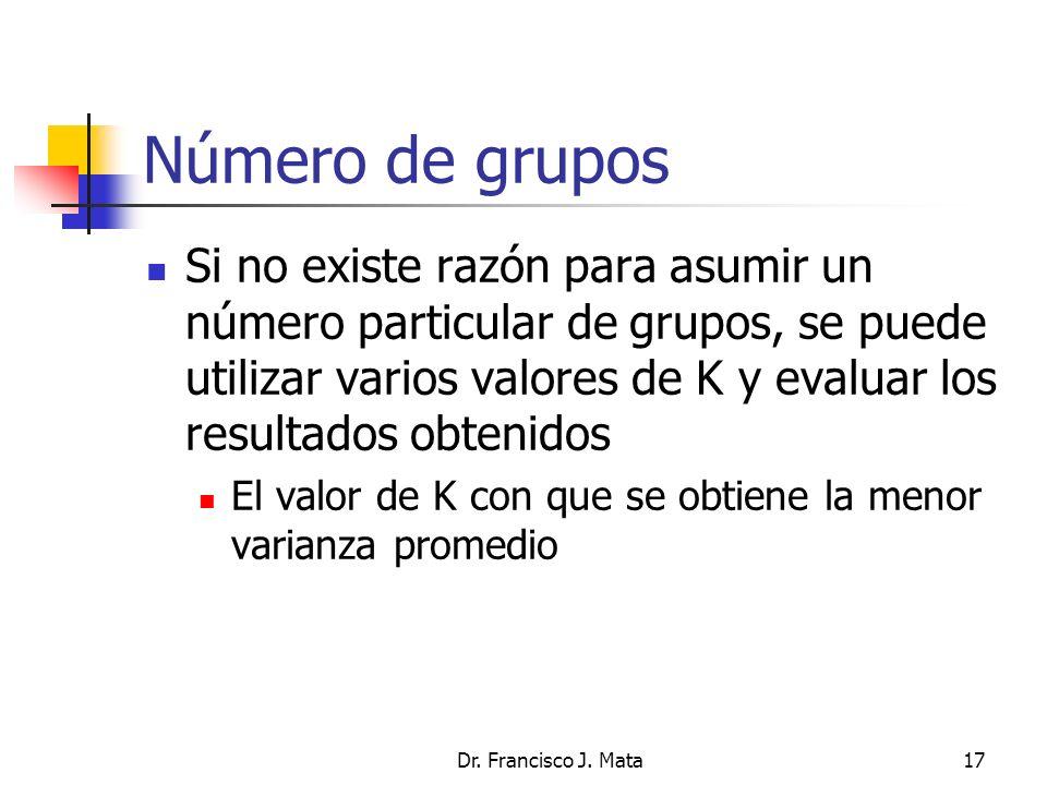 Dr. Francisco J. Mata17 Número de grupos Si no existe razón para asumir un número particular de grupos, se puede utilizar varios valores de K y evalua