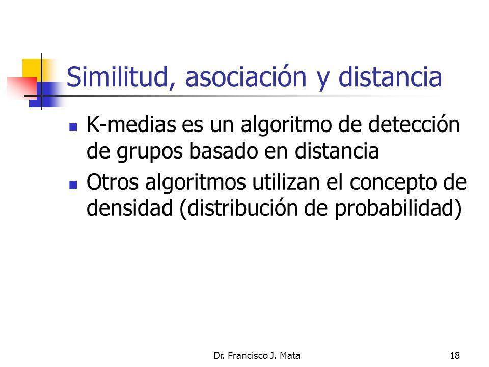 Dr. Francisco J. Mata18 Similitud, asociación y distancia K-medias es un algoritmo de detección de grupos basado en distancia Otros algoritmos utiliza