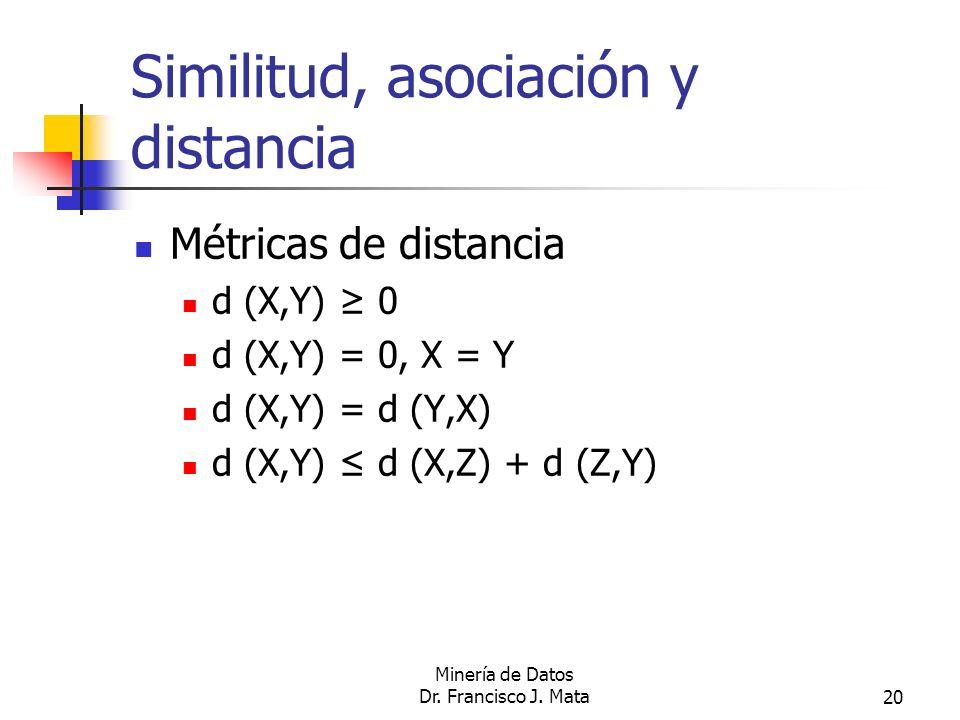 Minería de Datos Dr. Francisco J. Mata20 Similitud, asociación y distancia Métricas de distancia d (X,Y) 0 d (X,Y) = 0, X = Y d (X,Y) = d (Y,X) d (X,Y