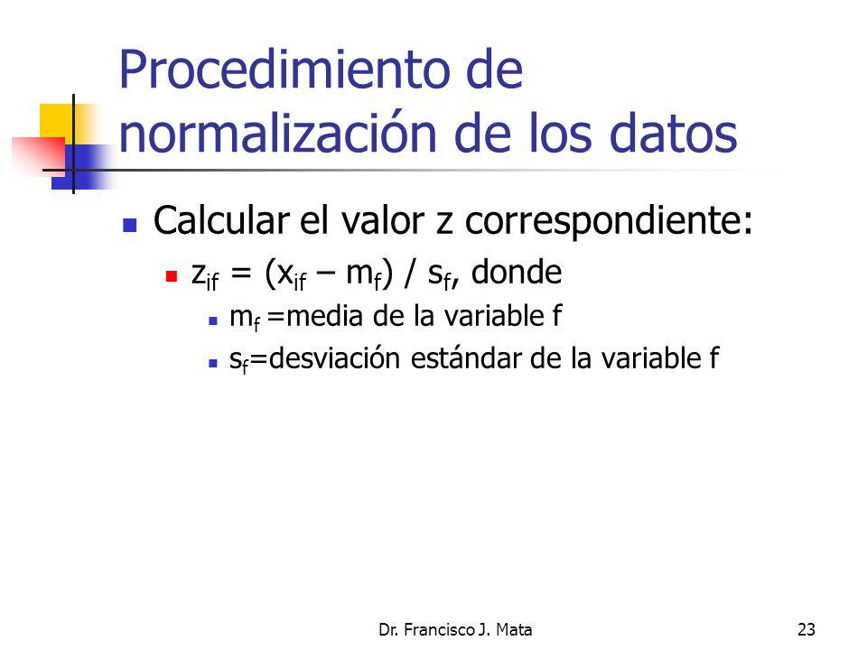 Procedimiento de normalización de los datos Calcular el valor z correspondiente: z if = (x if – m f ) / s f, donde m f =media de la variable f s f =de