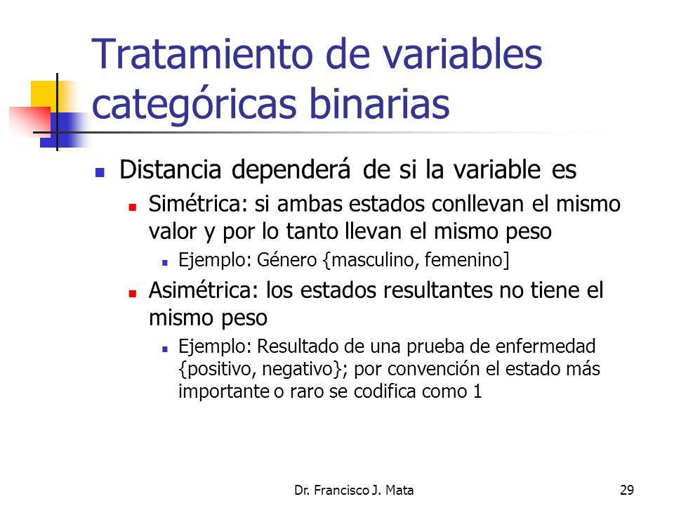 Dr. Francisco J. Mata29 Tratamiento de variables categóricas binarias Distancia dependerá de si la variable es Simétrica: si ambas estados conllevan e