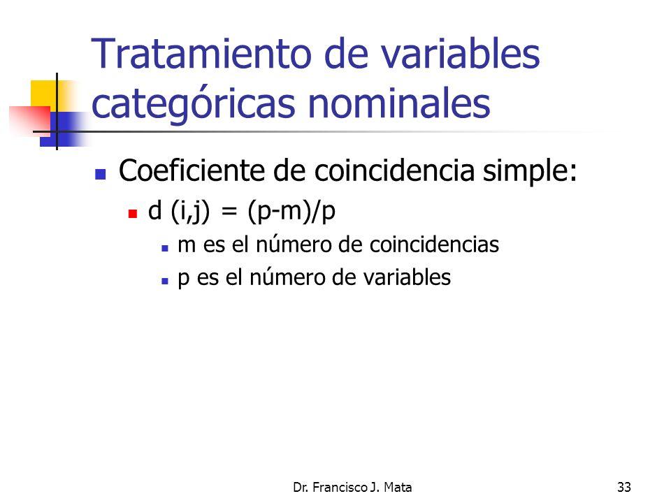 Dr. Francisco J. Mata33 Tratamiento de variables categóricas nominales Coeficiente de coincidencia simple: d (i,j) = (p-m)/p m es el número de coincid