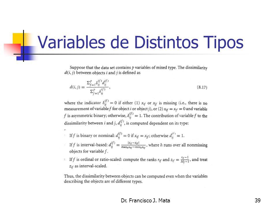 Dr. Francisco J. Mata39 Variables de Distintos Tipos