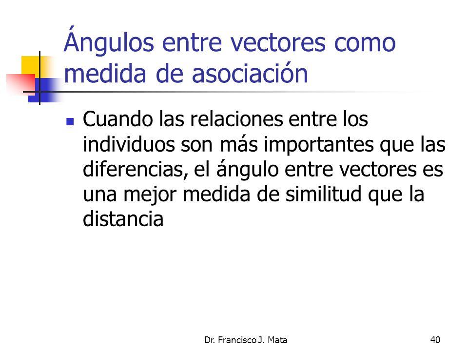 Dr. Francisco J. Mata40 Ángulos entre vectores como medida de asociación Cuando las relaciones entre los individuos son más importantes que las difere