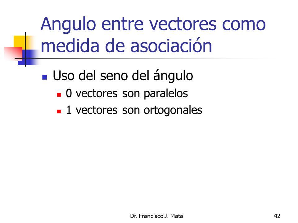 Dr. Francisco J. Mata42 Angulo entre vectores como medida de asociación Uso del seno del ángulo 0 vectores son paralelos 1 vectores son ortogonales