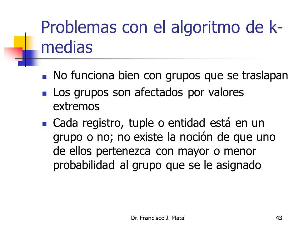 Dr. Francisco J. Mata43 Problemas con el algoritmo de k- medias No funciona bien con grupos que se traslapan Los grupos son afectados por valores extr