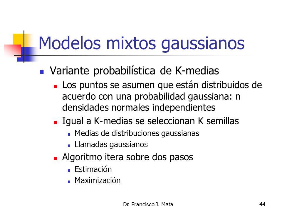 Dr. Francisco J. Mata44 Modelos mixtos gaussianos Variante probabilística de K-medias Los puntos se asumen que están distribuidos de acuerdo con una p