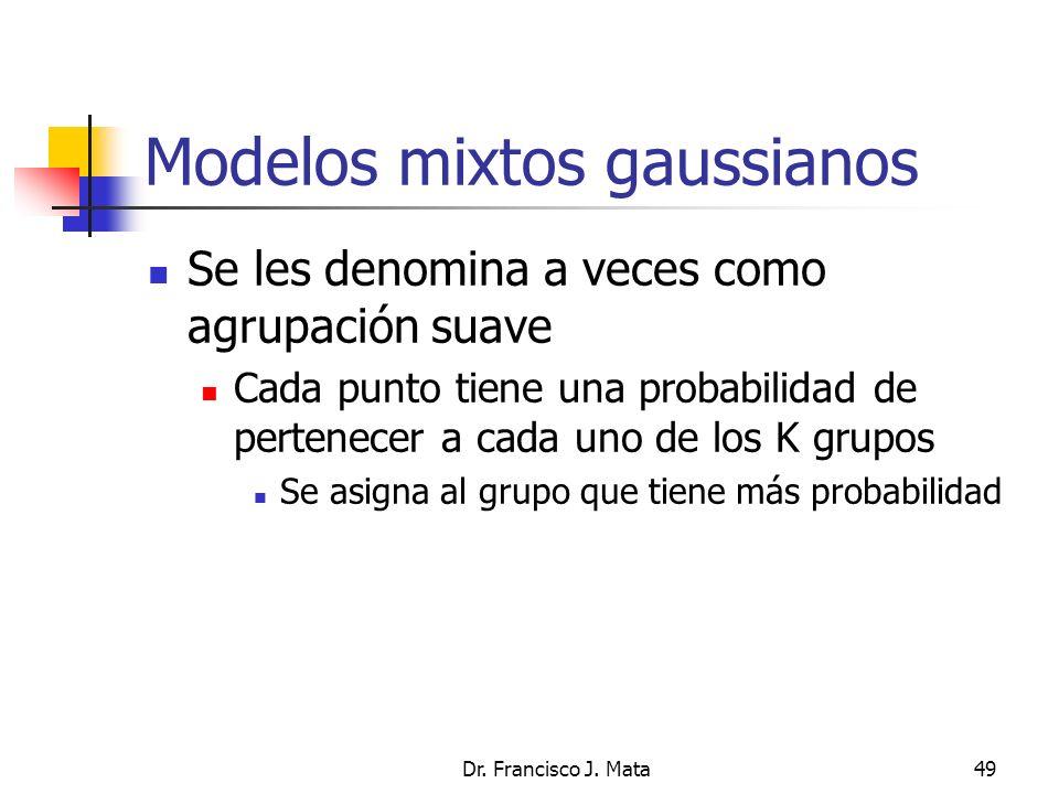 Dr. Francisco J. Mata49 Modelos mixtos gaussianos Se les denomina a veces como agrupación suave Cada punto tiene una probabilidad de pertenecer a cada