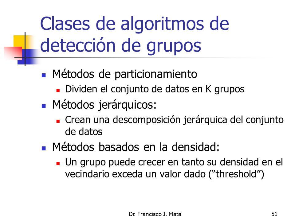 Dr. Francisco J. Mata51 Clases de algoritmos de detección de grupos Métodos de particionamiento Dividen el conjunto de datos en K grupos Métodos jerár