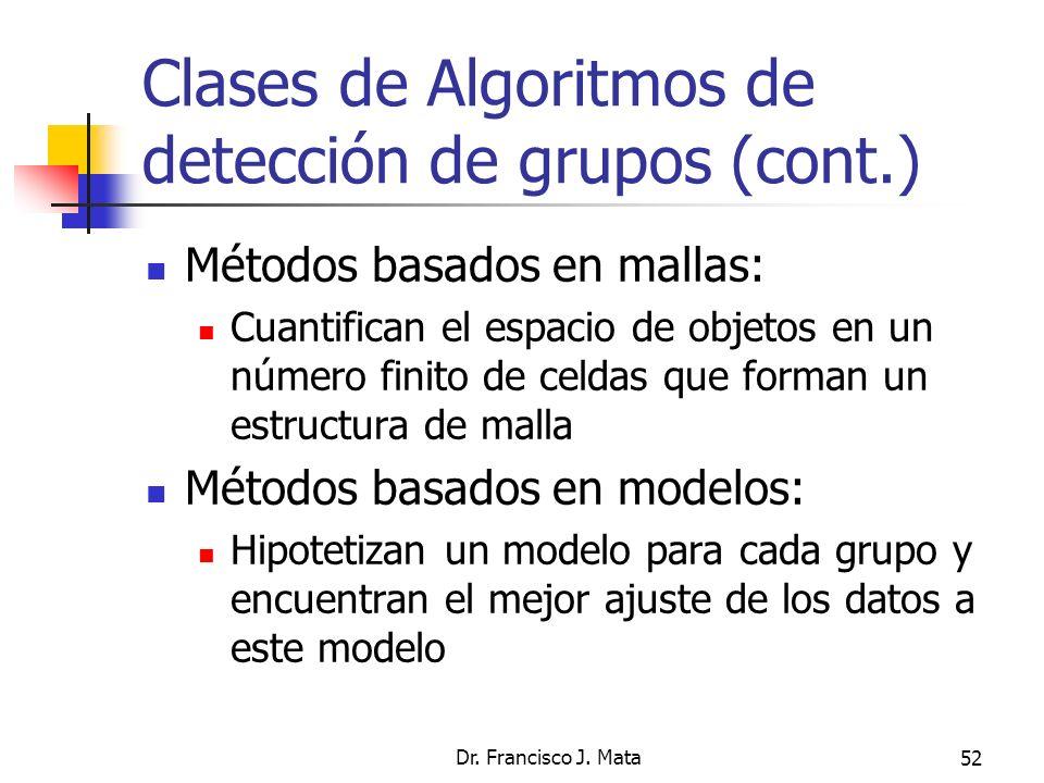 Dr. Francisco J. Mata52 Clases de Algoritmos de detección de grupos (cont.) Métodos basados en mallas: Cuantifican el espacio de objetos en un número