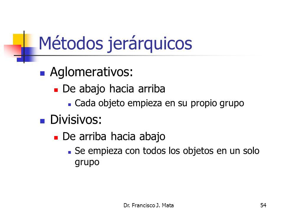 Dr. Francisco J. Mata54 Métodos jerárquicos Aglomerativos: De abajo hacia arriba Cada objeto empieza en su propio grupo Divisivos: De arriba hacia aba