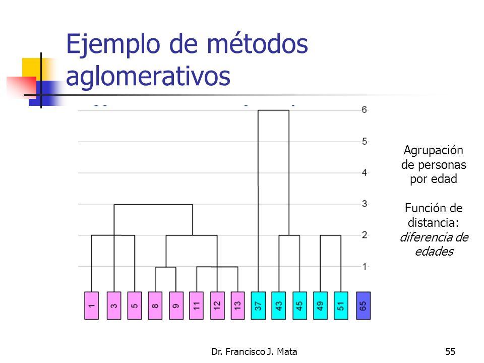 Dr. Francisco J. Mata55 Ejemplo de métodos aglomerativos Agrupación de personas por edad Función de distancia: diferencia de edades