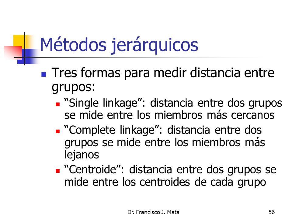 Dr. Francisco J. Mata56 Métodos jerárquicos Tres formas para medir distancia entre grupos: Single linkage: distancia entre dos grupos se mide entre lo