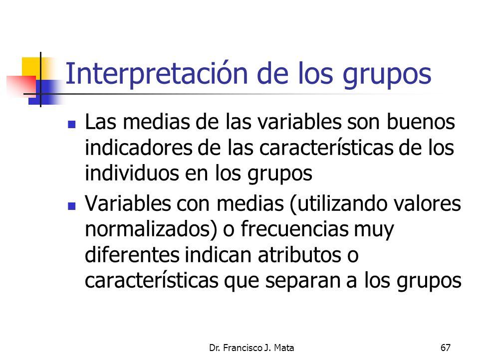 Dr. Francisco J. Mata67 Interpretación de los grupos Las medias de las variables son buenos indicadores de las características de los individuos en lo