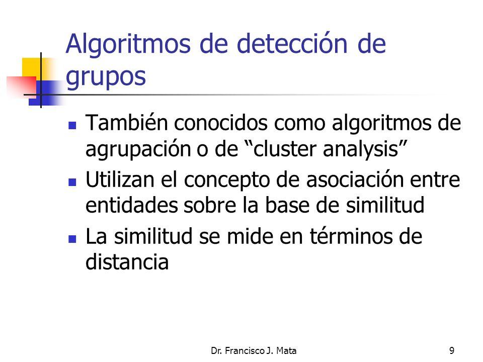 Dr. Francisco J. Mata9 Algoritmos de detección de grupos También conocidos como algoritmos de agrupación o de cluster analysis Utilizan el concepto de