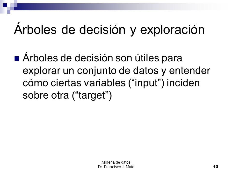 Minería de datos Dr. Francisco J. Mata 10 Árboles de decisión y exploración Árboles de decisión son útiles para explorar un conjunto de datos y entend