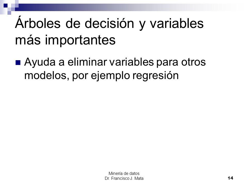 Minería de datos Dr. Francisco J. Mata 14 Árboles de decisión y variables más importantes Ayuda a eliminar variables para otros modelos, por ejemplo r