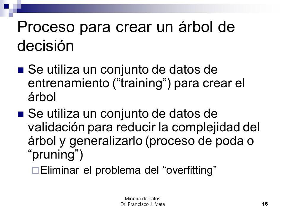 Minería de datos Dr. Francisco J. Mata 16 Proceso para crear un árbol de decisión Se utiliza un conjunto de datos de entrenamiento (training) para cre